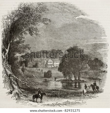 Stratfield Saye House old view, county of Hampshire, England. By unidentified author, published on Magasin Pittoresque, Paris, 1840 - stock photo