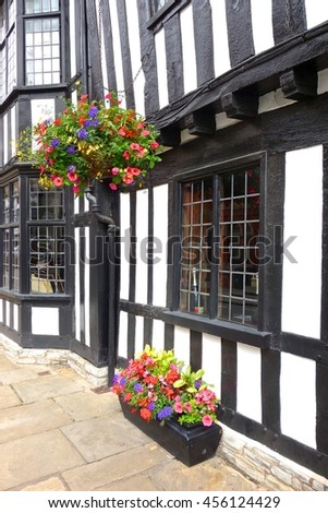 STRATFORD, ENGLAND - JULY 7. This house was standing when William Shakespear lived in Stratford. July 7 2016 in Stratford, England. - stock photo