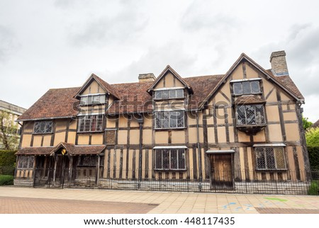 STRATFORD - MAY 20: Shakespeare birthplace house in Stratford-upon-Avon in England, the most famous English poet home town, under cloudy sky on May 20, 2016.