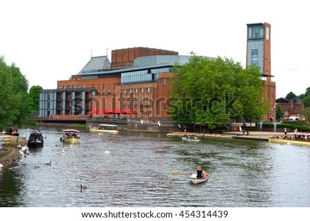 STRATFORD UPON AVON, ENGLAND - JULY 10: The Shakespeare Theatre, Sited beside the River Avon, stages Shakesperian plays throughout the year. July 10, 2016 at Stratford Upon Avon, England..  - stock photo