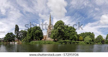 Stratford-upon-Avon panorama. Featuring Holy Trinity church and the river Avon - stock photo