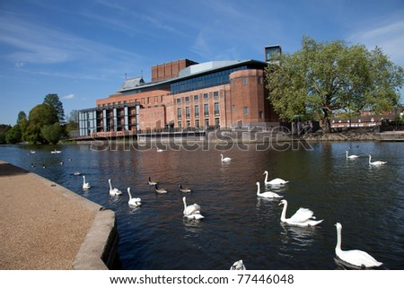 Stratford upon Avon the birthplace of  William Shakespeare and the RSC brick theatre on the River Avon