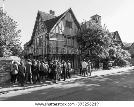 STRATFORD UPON AVON, UK - SEPTEMBER 26, 2015: Halls Croft is the house of Shakespeare sister in black and white