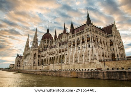 Stratocumulus Clouds Over the Budapest Parliament at Dawn - stock photo