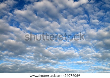 Stratocumulus (Sc) and Cumulus (Cu), clouds and blue sky, clouds texture, - stock photo