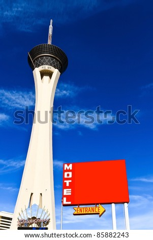 Stratosphere hotel tower with blank hotel sign in Las vegas, Nevada - stock photo
