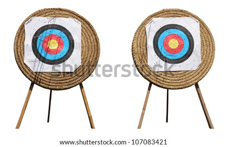 Straw Archery targets on a white background - stock photo