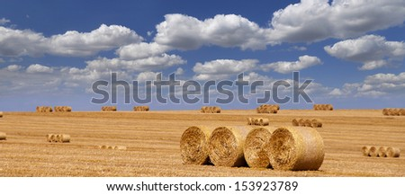 straw bales and blue sky - panorama - stock photo