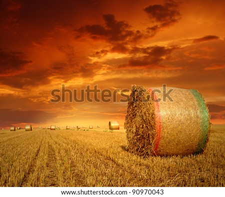 Straw bales on farmland with red cloudy sky - stock photo