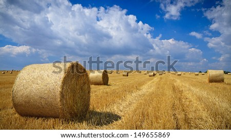 Straw bales on the field after harvest with cloudy blue sky in the background. - stock photo