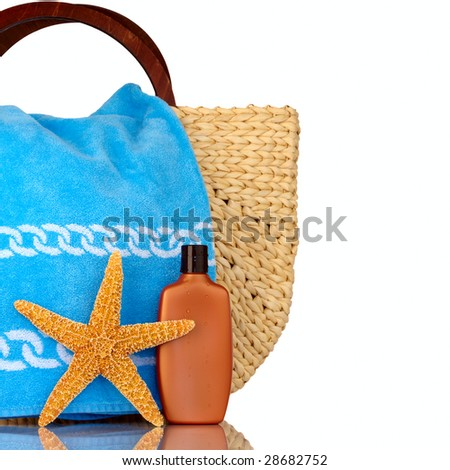 Straw Beach Bag, Blue Towel, Sunscreen With Water Drops and Starfish Isolated On White - stock photo