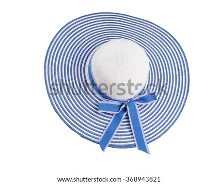 straw blue hat for protect sun  isolated on white background. This has clipping path. - stock photo