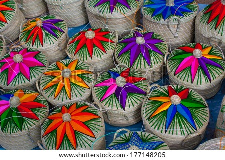 Straw boxes on the market in Chichicastenango Guatemala - stock photo