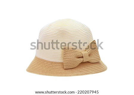 straw hat for ladies on a white background - stock photo