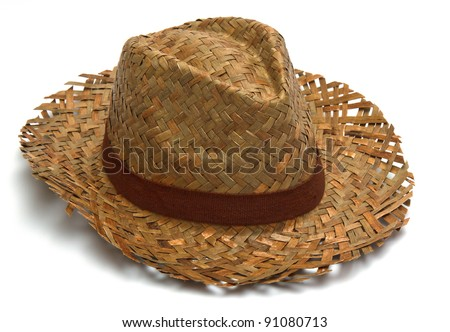 straw hat isolated - stock photo