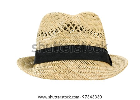 Straw hat, isolated on a white background - stock photo