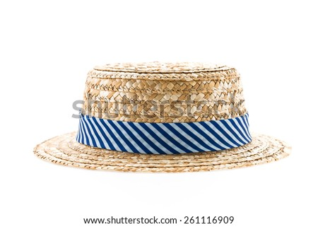 Straw hat isolated on white - stock photo