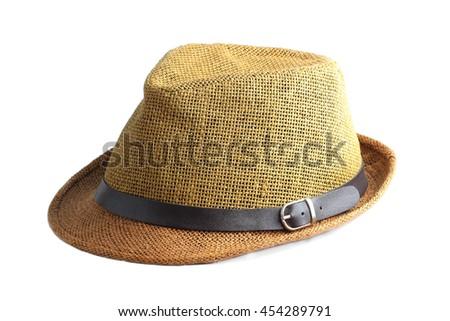 Straw hat isolated on white background - stock photo