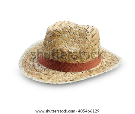 Straw Hat Isolated on white background,weave hat.