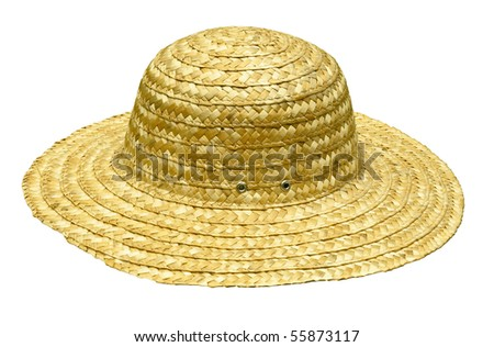straw hat isolated on white with clipping path at this size - stock photo