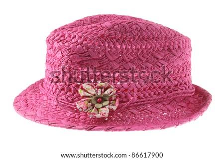 Straw Hat on White Background - stock photo