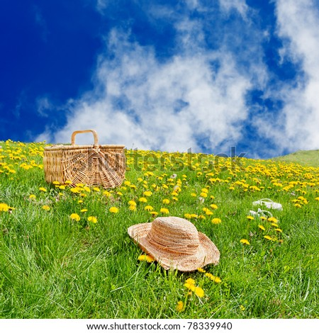Straw hat, picnic basket & flip flops sitting on the grass in a rolling, dandelion filled meadow - stock photo