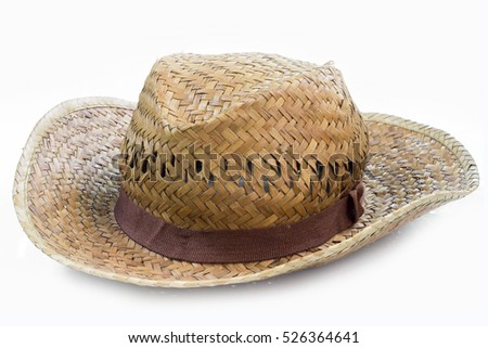 Straw hat pretty on white background.