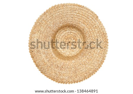 Straw hat top view - stock photo