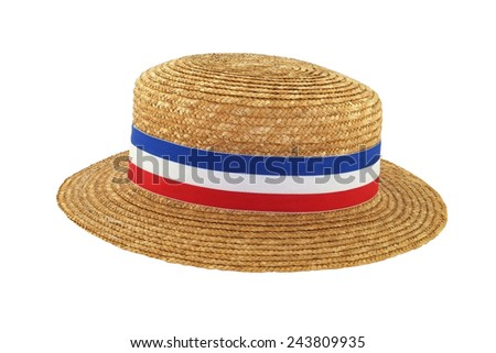 Straw hat with red white and blue band - stock photo