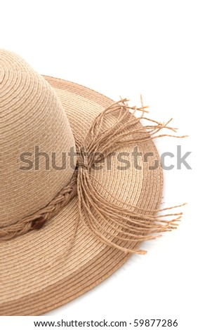 Straw hat with ribbon isolated on white background. - stock photo
