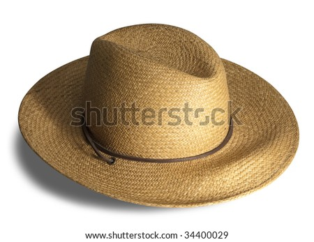 Straw hat with shadow on white background with clipping path