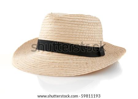 Straw hat withe black ribbon isolated on white background. - stock photo