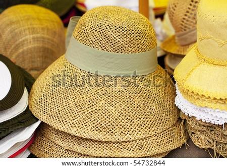straw hats - stock photo