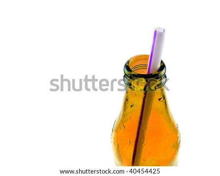 straw in a bottle isolated on white - stock photo