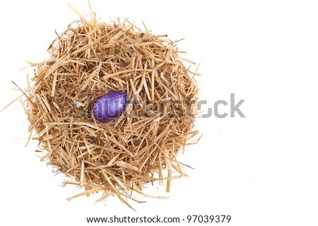 Straw nest with chocolate Easter eggs over white studio shoot
