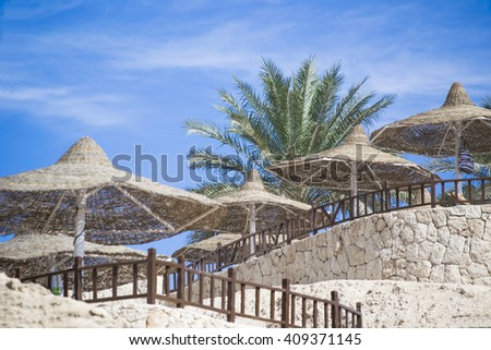 Straw parasols and palm tree on the beach resort