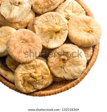 straw plate figs on a white background keeping paths - stock photo