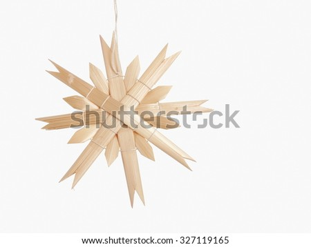 Straw star white background, copy space