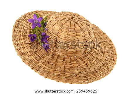 Straw summer hat with purple flowers - stock photo