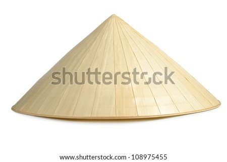 Straw traditional hat isolated on white background with clipping path - stock photo