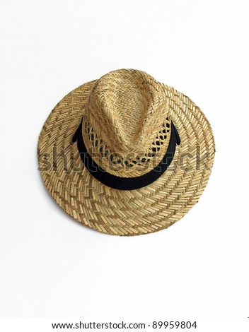 Straw Woven Hat with Black Band isolated on white background - stock photo