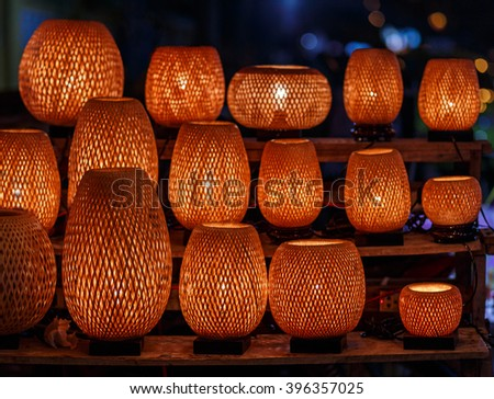 Straw woven lanterns in old Hoi An town in Vietnam. - stock photo