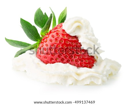 strawberey with whipped cream isolated on the white background