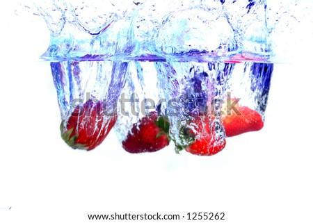 Strawberrie Splash - stock photo