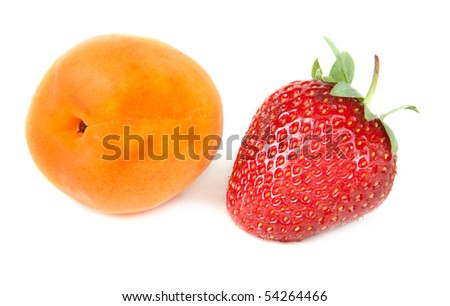 Strawberries and apricot insulated on white background