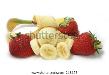 Strawberries and Bananas - stock photo