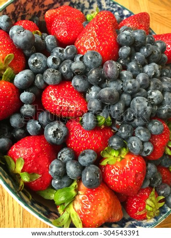 Strawberries and Blueberries in a Bowl on a Wooden Table