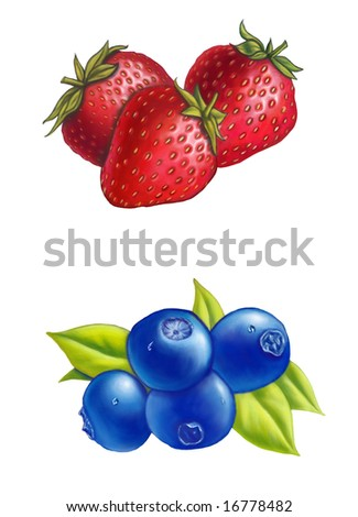 Strawberries and blueberries on white background. Digital illustration. - stock photo