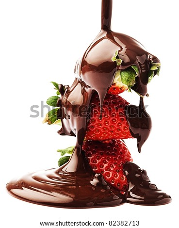 strawberries and chocolate on a white background - stock photo