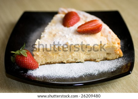 Strawberries and cottage cheese cake - stock photo